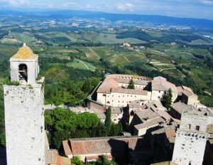 Towers of San Gimignano and surrounding vineyards