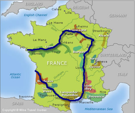 Map Of France Jura.French Cruise Map 1 Apr 09 Wine Travel Guides Blog