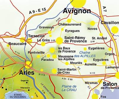 Les Baux en Provence map